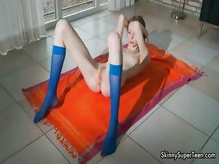 Skinny girl with a tiny pussy spreading part3