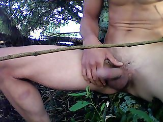 wanking in the woods, big cumshot