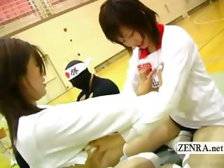 Subtitled Japanese volleyball bisexual breast massage