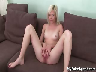 Sexy blonde babe gets horny showing off part1