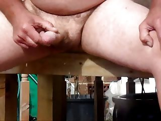 wanking outside and cumming