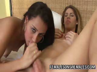 Bia Bastos And Bianca Lopes - A Brazilian Shemale Cock FOr A Wet Latina Pussy
