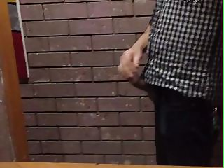 Risky Jerk in Public Toilet