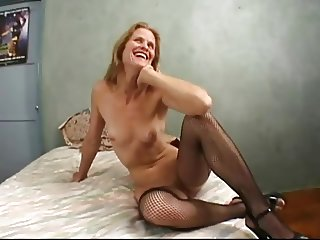 Two Cocks In Skinny Mature Dawndi's Cunt