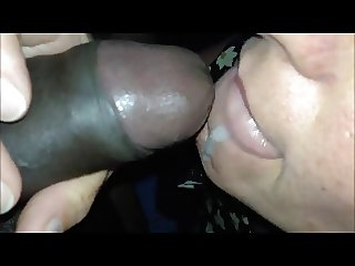 Horny Mom Opens Mouth to Taste and Swallow Black Sperm
