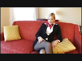 Blonde Pantyhose stewardess fuck and facial