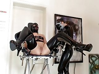 Shaving lesbians - with latex and BDSM