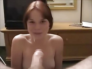 Sweet chick giving head