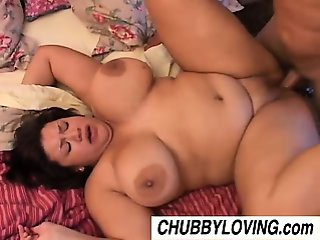 Beautiful busty brunette BBW Monet loves to fuck