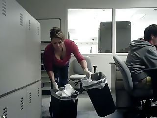 Work Cleaning Lady Cleavage