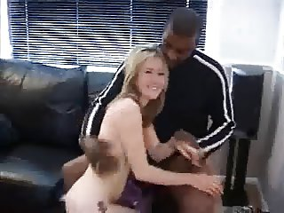 Young slut fucks two on the couch