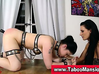 Brunette bound slut gets her ass toyed by lez domina in hd