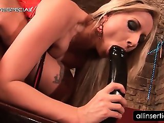 Blonde lusty bitch fucking her sex toys and a big dick