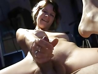 boyfriend and girlfriend pegging with handy