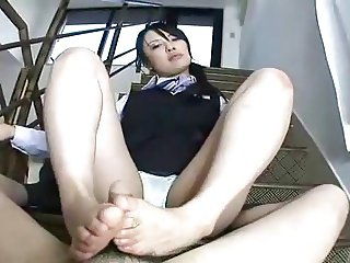 asian footjob on stairs