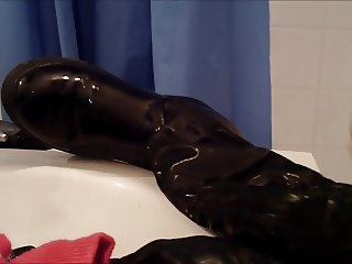 Wife's shiny boots cummed