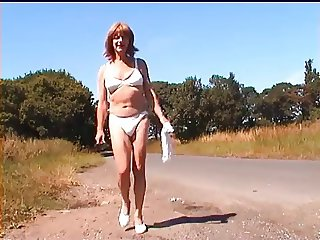 Crossdresser Strips to Her Undies in Public