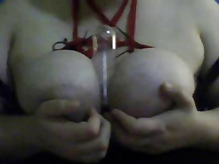 Amateur BBW playing with tied Tits - Dildo Titjob Blowjob