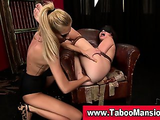 Lesbo domina fists bound hoes ass and face sits in fetish action