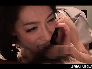 Sexy mature jap chick orally teasing cock and giving big boner