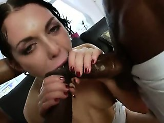 Two monster black dick in her anal