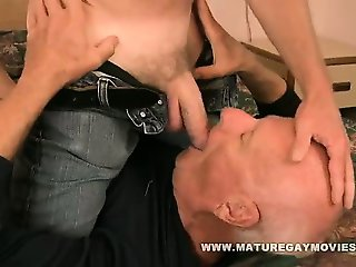 Silverdaddy bareback his mature friends ass