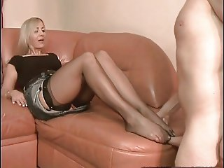 Sexy Wife pantyhose footjob 3 part 1