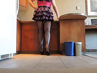 Sissy Ray in Pink Sissy Apron and Fishnet Stockings
