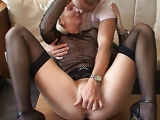 Blond German Milf - Fucks a young lucky Guy