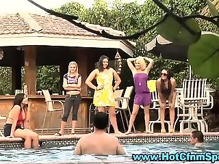 Watch pool party hotties dominate losers
