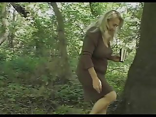 Chunky Granny's Hairy Cunt Fucked In The Woods