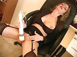 Beautiful mature secretary in glasses- big tits- masturbates