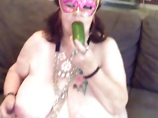 Amateur Granny Play With Cucumber