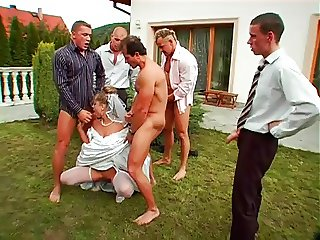Bride gets gangbang, bukkake and a special surprise
