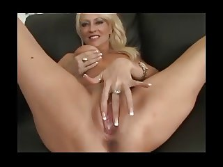 Blonde MILF Natasha creampied on the couch