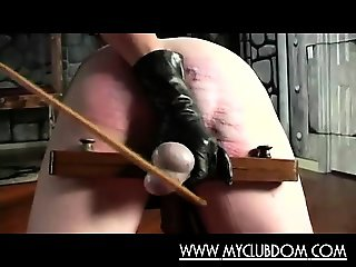 Submissive guy brutal spanked and fucked