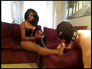 black mistress use feet slave