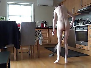 Hoover cleaning naked