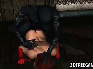 Hot 3D brunette fucked from behind by a monster