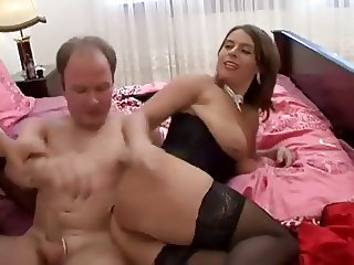 Old Man And 2 Brunette Hot Chick