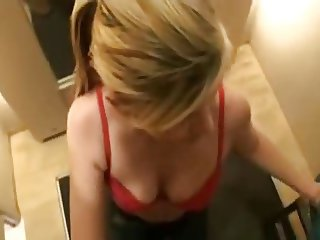 Topless blowjob in dressing room