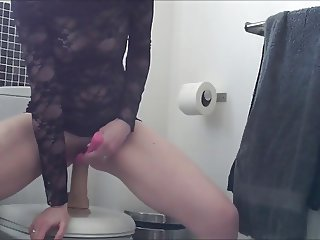 Wife riding her favorite pink toy when she is home alone