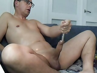 Cock pleasure with pump, oil and sounding