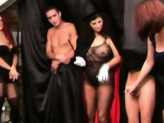 CFNM euro babes do magic with cock