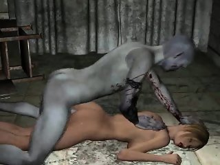 Short haired 3D blonde babe gets fucked by a zombie