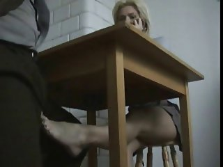 Blond student does a footjob