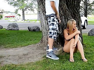 Girl blows & fucks in a park