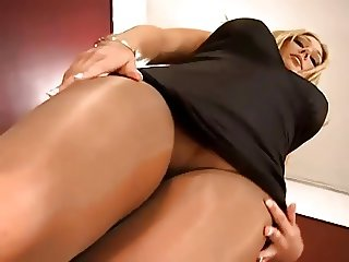 Blonde girl in pantyhose needs pulsating cock right now