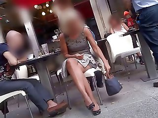 Sexy Legs Miniskirt Dress candid at public place