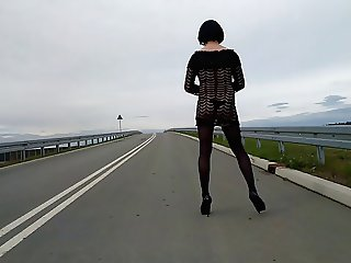 Outdoor crossdresser on public street - lingerie & heels